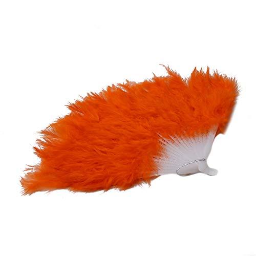 RUJFISH Feather Fans Folding Dance Hand Fan Fancy Costumes for Women Halloween Wedding Party Supplies -