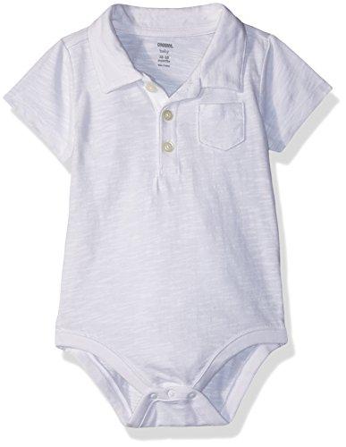 Gymboree Baby Boys Short Sleeve Pocket Polo Bodysuit, White, 3-6 MO