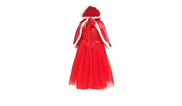 Xmiral 2Pcs Vestido de Encaja Sin Mangas con Capa para Navidad ...