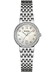 Bulova Womens Designer Diamond Stainless Steel Mother Of Pearl Dial Bracelet Quartz Watch (Model: 96W203)