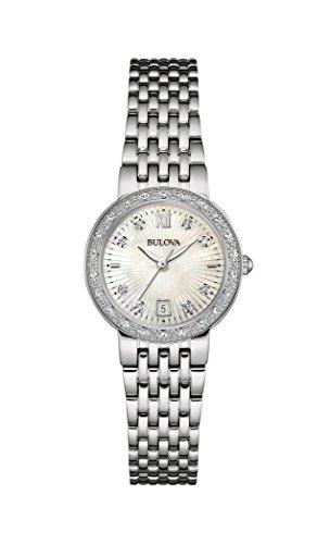 (Bulova Women's Designer Diamond Stainless Steel Mother Of Pearl Dial Bracelet Quartz Watch (Model: 96W203))