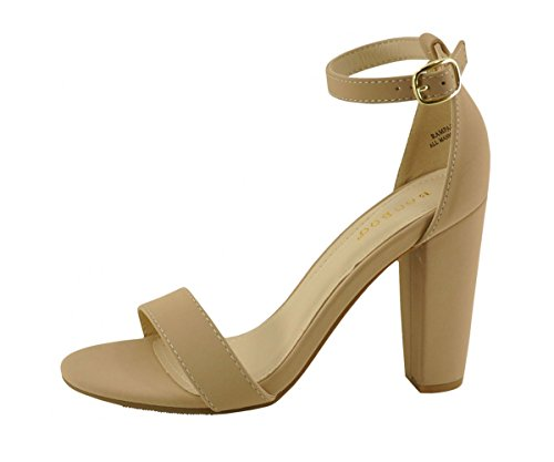 Bamboo Womens Single Band Chunky Heel Sandal With Ankle Strap (8, Nude Nubk)