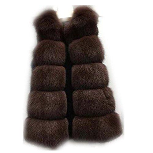 メンバーアクセスできないだらしないgegefur女性の自然のフォックスファーコート秋冬ロングジレベスト