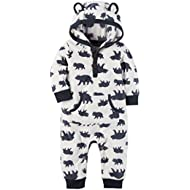 Baby Boys Fleece Hooded Romper Jumpsuit, White Bear, 18 Months
