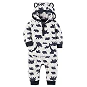 Carter's Baby Boys Fleece Hooded Romper Jumpsuit, White Bear, 9 Months,9 Months,White Bear