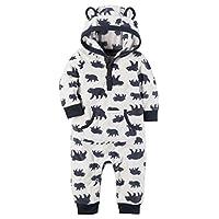 Carter's Baby Boys Fleece Hooded Romper Jumpsuit, White Bear, 3 Months