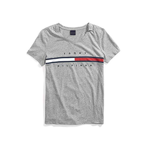 Tommy Hilfiger T-shirt Top - Tommy Hilfiger Women's T Shirt with Magnetic Closure Signature Stripe Tee, Cs Medium Grey Hearope, X-Small