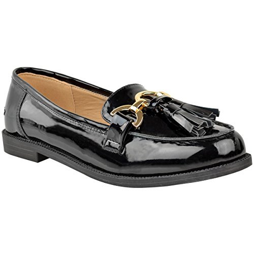 Heelberry® Womens Ladies Loafers Flat Casual Office Work School Tassel Fringe Pumps Shoes black patent pvu39grU