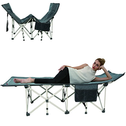 FLAMROSE Patented Camping Cots Deluxe XL Comfort Outdoor Camp Cot - No Installation - Include Storage Bag - Weight Capacity 400lbs