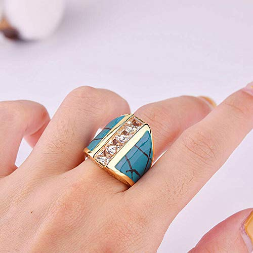The Sun Jewelry Women 18k Gold Zircon Turquoise Carving Birthstone Rings Party Jewelry SZ 6-10 10