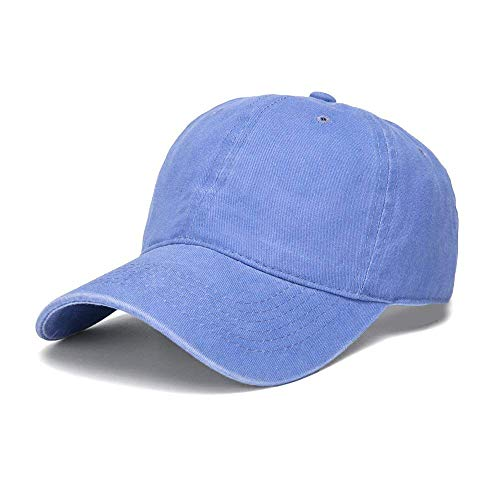 WINCAN Vintage Washed Dyed Cotton Twill Low Profile Adjustable Baseball Cap (Light Blue) ()