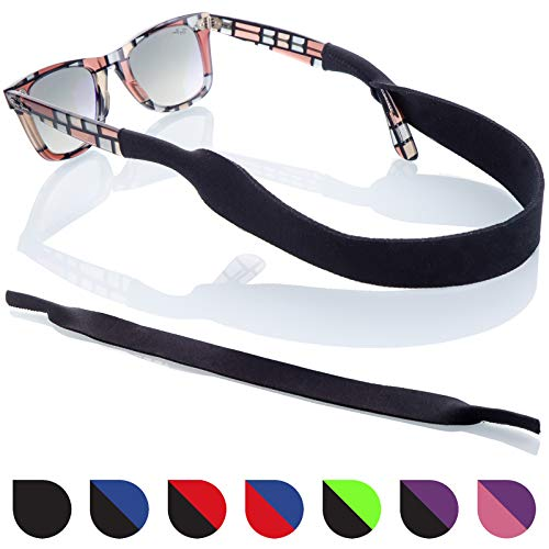 Sunglass Glasses Strap - 2 Pack Sport Eyewear Retainer - Anti Slip Fast Drying - Fits All (Black) (Sports Glasses Strap)