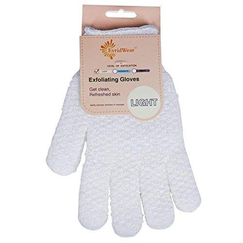 Evridwear 1 Pair Gentle Exfoliating Hydro Bath Gloves for Shower and Bath, Use for Cleansing, Body Scrubs, Massage and as a Spa Scrubber (Light Exfoliating, Natural ()