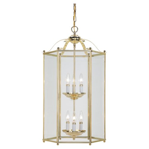 Bretton 2 Light (Sea Gull Lighting 5233-02 6-Light Hall and Foyer Fixture, Clear Glass Panels and Polished Brass)