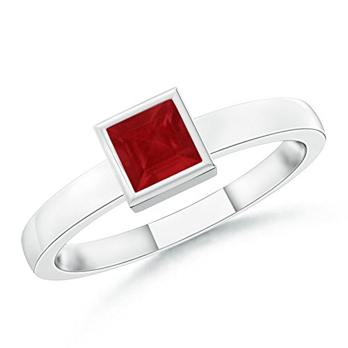 July Birthstone - Bezel-Set Solitaire Square Natural Ruby Stackable Ring for Women in 14K White Gold (3mm -