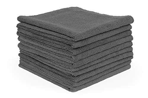 The Rag Company (10-Pack) 16 in. x 16 in. Professional EDGELESS 365 GSM Premium 70/30 Blend Metal POLISHING & Detailing Microfiber Towels The Miner]()