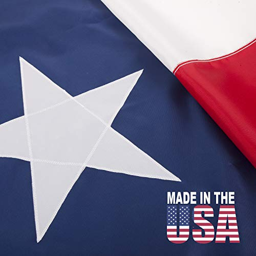 PFC - State of Texas Flag 3x5 ft: 100% USA Made, Appliquéd Star, Sewn Tough Weather Resistant Dupont SolarMax Nylon, UV Protected, Quadruple Lock Stitching on End, Best for Outdoor/Indoor Use