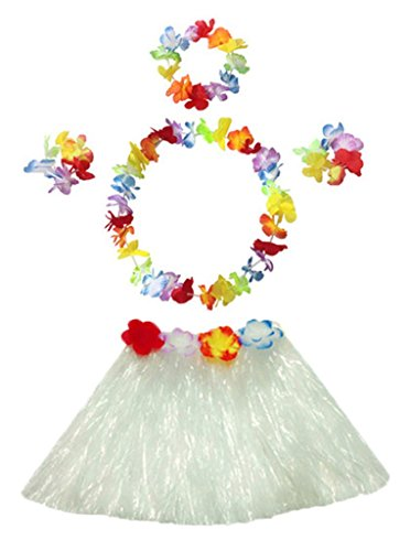 30cm white Performance grass skirt with flowers bracelets headband necklace Hula set (Sexy Hula Costume)