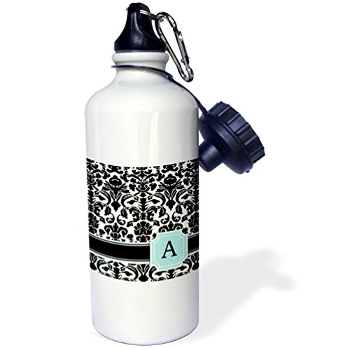 "3dRose wb_154350_1 ""Letter A personal monogrammed mint blue black and white damask pattern-classy personalized initial"" Sports Water Bottle, 21 oz, White"