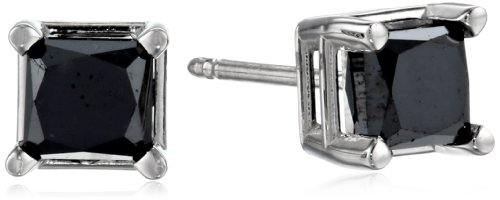 14k White Gold Princess-Cut Black Diamond Stud Earrings (...