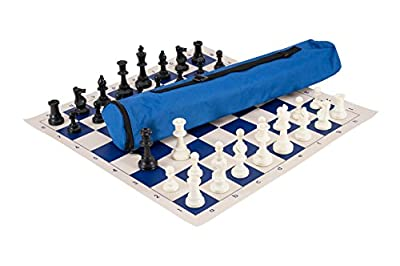 The House of Staunton Quiver Chess Set Combination - Triple Weighted - Royal Blue Bag/Board - by US Chess Federation
