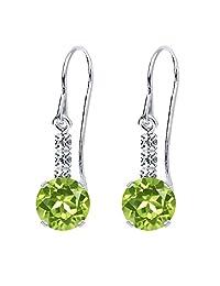 2.02 Ct Round Green Peridot 925 Sterling Silver Earrings