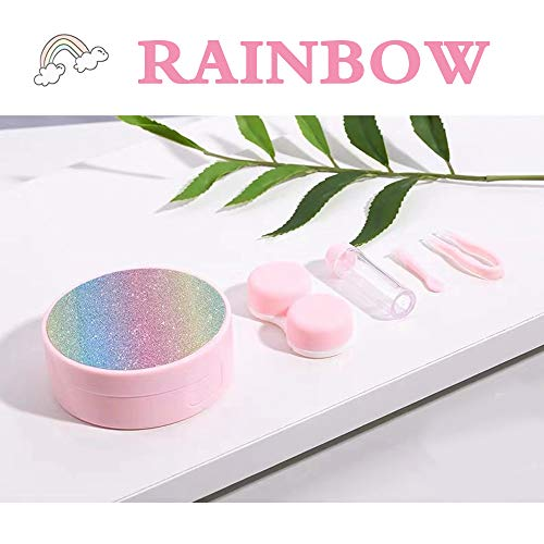 Creative Fashion Contact Lens Box Scrub Rainbow Style Cute Contact Lens Travel Case,Portable Contact Lens Travel Kits Cute (Pink)