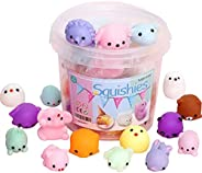 24/36/64pcs Squeezing Decompression Toy Set Mini Squeezing Mochi Animals for Girls& Boys Toy Gift Set-Rand