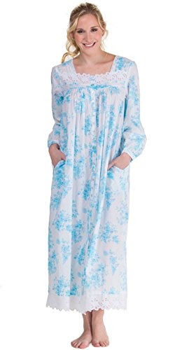 Eileen West Peignoir Set - White Floral Cotton Gown & Robe in Aerial Bouquet (White/Turquoise Floral, Medium) by Eileen West (Image #1)