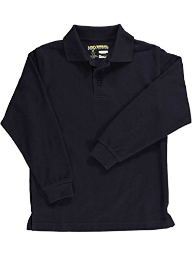 Ultimate Pique Shirt - Universal Long Sleeve Unisex Pique Polo Shirt (Sizes 4-7) - navy, 5
