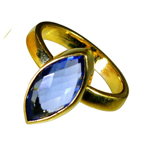 (Jewelryonclick Marquise Shape Gold Plated Blue Sapphire CZ Couple Promise Rings Women In Size 5-12)