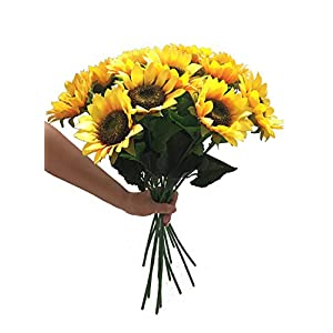 Charmly Artificial Sunflowers 5 Pcs Long Stem Fake Sunflowers Artificial Silk Flowers for Home Hotel Office Wedding Party Garden Decor 23.5'' High 10
