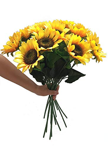 Charmly Artificial Sunflowers 5 Pcs Long Stem Fake Sunflowers Artificial Silk Flowers for Home Hotel Office Wedding Party Garden Decor 23.5'' High