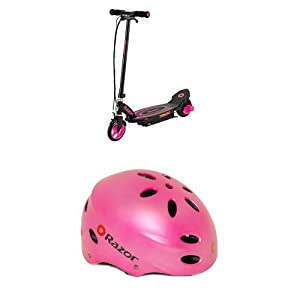 Razor Power Core E90 Electric Scooter, Pink with V-17 Youth Multi-Sport Helmet (Satin Pink)