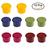 DOMIRE Wine Stoppers, Silicon Leak-proof Wine Bottle Cap 10 pack Reusable Air-tight Wine Stopper Accessories