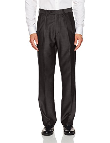 Steve Harvey Men's Solid Regular Fit Suit Seperate Pant, Dark Brown, 38Wx32L by Steve Harvey