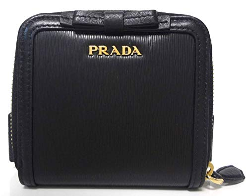 Prada Women's Black Nero Vitello Move Zip Flap Bow Wallet 1ML522