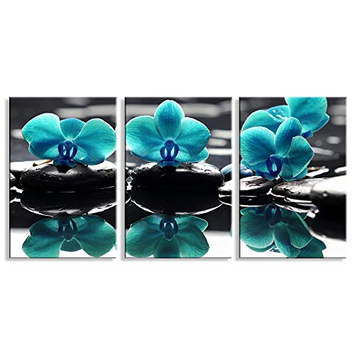 Canvas Art 3 Pieces Blue Stone Flowers Zen Painting Pictures Prints Wall Art Canvas Prints Framed Ready to Hang for Living Room Home Decoration 16 x24 x3 Panels
