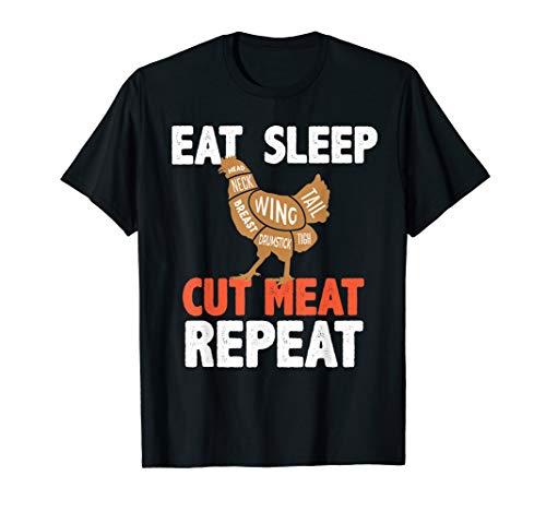 EAT SLEEP CUT MEAT REPEAT Shirt BUTCHER CHICKEN Diagram Gift (Chicken Diagram)