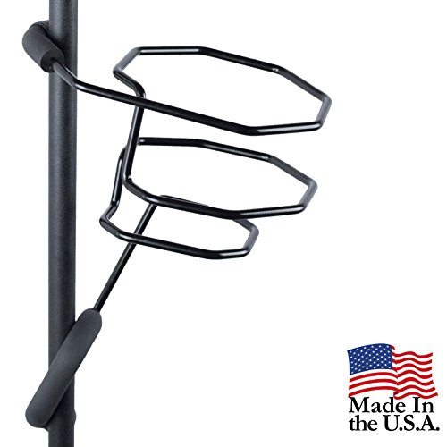 Mic Stand Large Drink Holder - Microphone & Cymbal Pole Mount for Nalgene Water Bottle Mason Jar Atlas Coffee Thermos Contigo Travel Mug - Black Heavy Duty Studio Quality Made in USA - String Swing