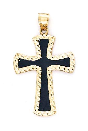 Moyenne 14 carats avec pendentif en forme de croix en émail noir-JewelryWeb