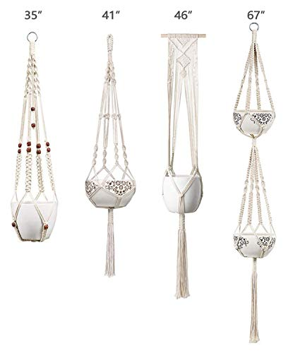 Mkono Macrame Plant Hangers Set of 4 Indoor Wall Hanging Planter Basket Decorative Flower Pot Holder with 4 Hooks for… 6