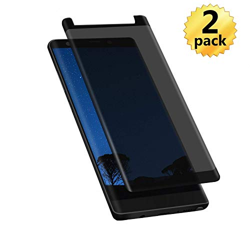 [2 Pack] ZD Compatible Screen Protector Privacy Tempered Glass Screen Cover for Samsung Galaxy Note 9 (Black-2PCS)