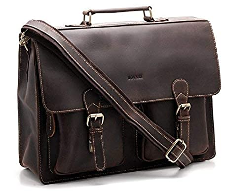 Bovari Herren Echt Leder Aktentasche Laptoptasche Notebooktasche groß (15, 6 Zoll bis 17, 3 Zoll) Umhängetasche V5 - Vintage XL Edition (braun) BOV710