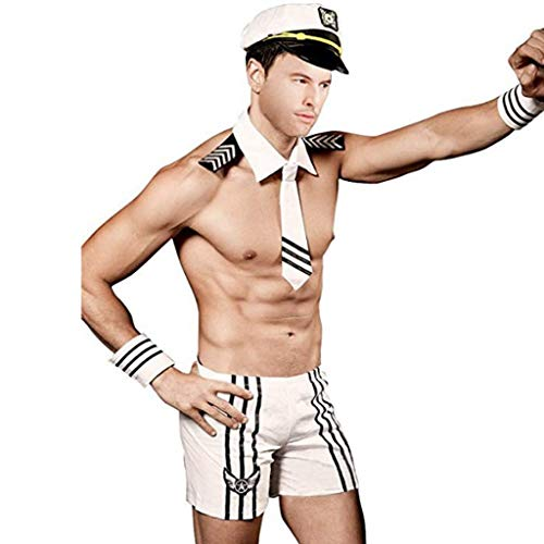 YiZYiF Men's Sexy Sailor Costume Cosplay Outfits with Yacht Captain Hat White -