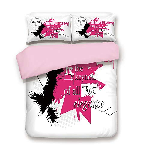 Pink Duvet Cover Set,Full Size,Lady Face with Makeup Simplicity for Elegance Inspirational Vogue Theme,Decorative 3 Piece Bedding Set with 2 Pillow Sham,Best Gift for Girls Women,Black -