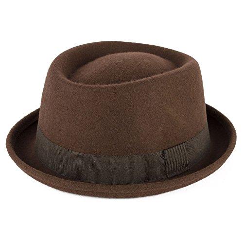 Men's Ladies Fine Felt Wool Pork Pie Hat Plain - Brown (59/L)