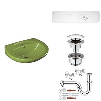 chrom SSWT Schallschutz-Set f/ür Waschtisch moosgr/ün T317421OH Cornat Farbklassiker EMOTION Waschtisch 60 cm 750 mm Push Up Druckknopf-Ablaufventil 1 1//4 Zoll f/ür Waschtisch max T317507  Waschtisch-Installationsset mit R/öhrens