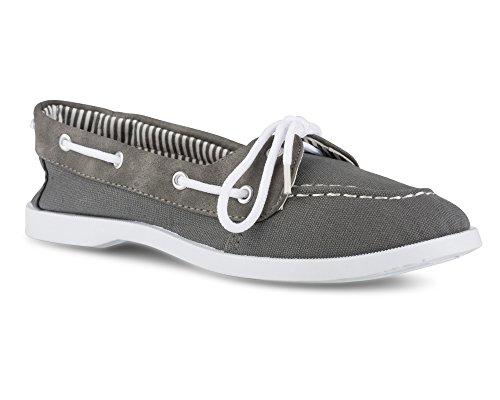 Twisted Womens Bonnie Faux Leather Trim Boat Shoe Grey W/ Striped Lining 42Kmk0iwoP