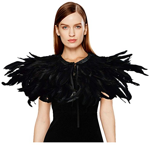 L'VOW Black Feather Shrug Cape Shawl Collar Halloween Costumes for Women (Black-004) -
